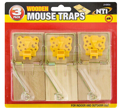 1, 3, 6, 12 Traditional Wooden Mouse Traps Bait Mice Rodent Pest Control Trap