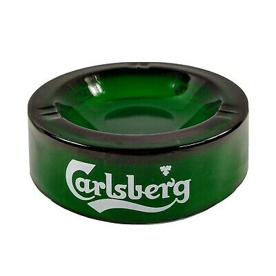 SMALL GREEN CARLSBERG PUB GLASS ASHTRAY QUANTITY AVAILABLE