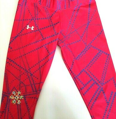 Under Armour Heat Gear Capri Pink Flower Patch Leggings Size Medium