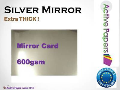 Silver Mirror Super Thick Shiny Card 600gsm - A5 A4 A3 A2 A1 mount board metalic