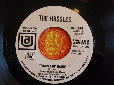 HASSLES Travelin' Band 45 rpm WHITE LABEL PROMO United Artists 1969 BILLY JOEL