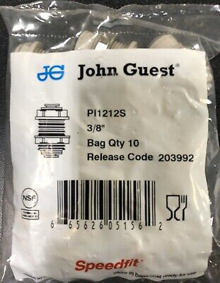 "John Guest Push To Connect Bulkhead Union 3/8"" PI1212S Speed Fit 10 Pack"