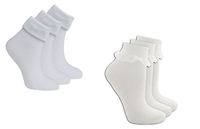 Girls' School Ankle 3-Pack Socks Frilly Ruffle Turnover White Cotton 4-11 Years