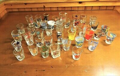 Lot of 43 Souvenir Shot Glasses from All over the Country