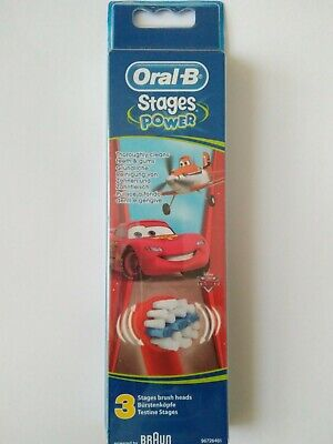 Oral-B Stages Power Kids Cars Replacement Toothbrush Heads by Braun - Pck of 3