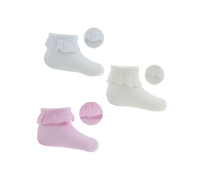 Newborn Baby Girls' Cute Ankle High Frilly Lace Socks Pack Age 0-3 3-6 Months