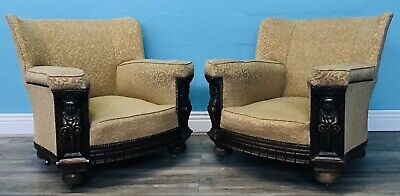 Superior Quality Pair Of Antique Art Deco Unusual Carved Oak Armchairs