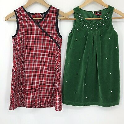 Old Navy Childrens Place Lot of 2 Christmas Dresses Green Velvet Red Plaid Sz 8