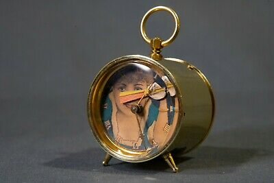 Rare Antique Travel Clock, Unique Key Wind Bedside Brass Clock w/ Moving Figure