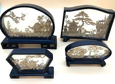 Collection - 4 x Vintage Asian Oriental Cork Sculpture Diorama in Display Cases.