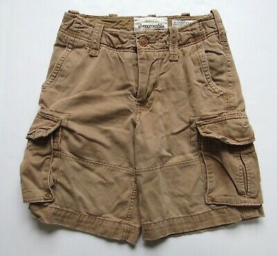 Abercrombie & Fitch Kids Boys Dark Khaki Cargo Shorts Adjustable Waist Size 12