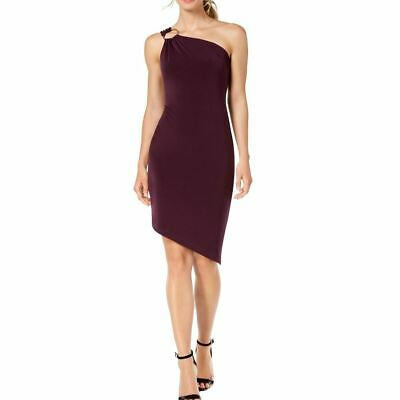 CALVIN KLEIN NEW Women's O-ring One-shoulder Asymmetrical Sheath Dress 12 TEDO