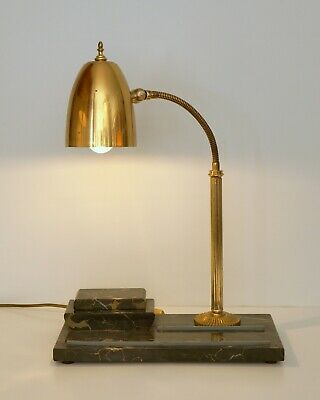Magnificent Original Art Deco Desk Lamp Marble 1940