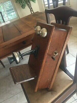 Antique Oak, wall mounted telephone, 1890's to 1915's, excellent condition, NICE