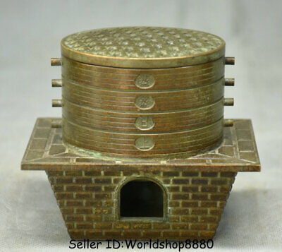 """4.4"""" Rare Old China Bronze Dynasty food steamer bamboo steamer steam box Statue"""