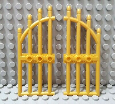 LEGO Castle Lot of 2 Pearl GOLD Wrought Iron Gate w// Arched Bars 1x4x9