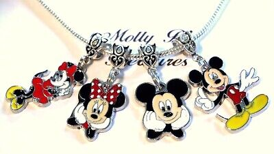 4 MINNIE & MICKEY MOUSE  Pendant Charms for European Charm Bracelet or Necklace