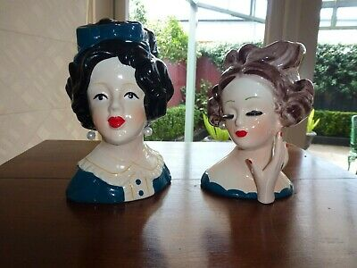 Pair Of Beautiful Porcelain Contemporary Lady Head Vases