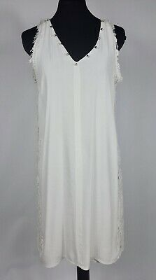 Zara T-Shirt Collection Women's M White Sleeveless Dress Studded Spikes Lace