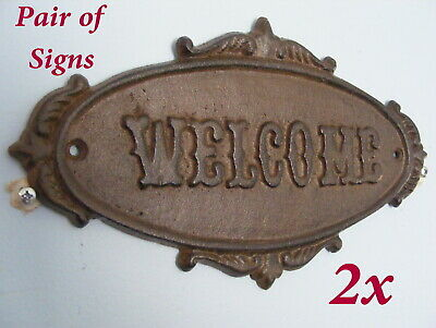 PAIR of Cast Iron Plaques Welcome Rustic Sign Wall Door Victorian Style CI102