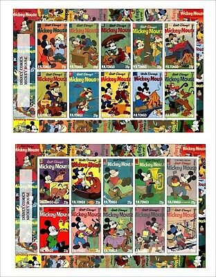 2017 DISNEY MICKEY MOUSE 4 SOUVENIR SHEETS animation comics