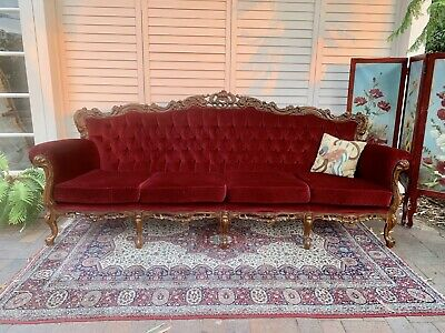 Vintage French Louis Wingback Chesterfield Lounge,4 Seater Sofa~Chair-Velvet