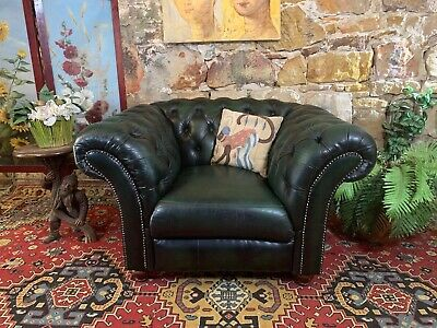 Vintage Chesterfield Leather Tub Armchair~Lounge Chair~Rich Green