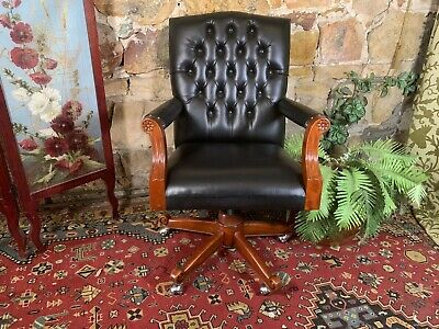 Vintage,Antique Style Swivel Office Desk Chair~Studded Hi-Back Chesterfield