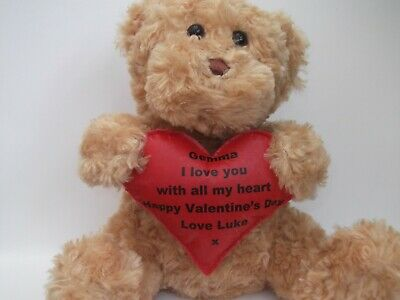Personalised Valentines Day Teddy Bear Gift With Love Heart Message