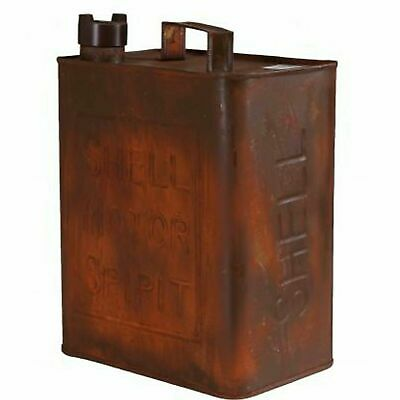 Shell Oval Metal Petrol Jerry Oil Can Reproduction Brass Cap Garage Man Cave