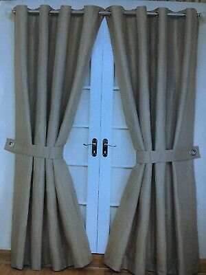 "1 Pair Jazz Linen lined Eyelet Curtains 66"" x 72"" with Tie Backs"