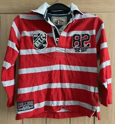 Boys Next Cotton Grey & Red Striped Rugby Shirt, Long Sleeved, Aged 7 yrs, VGC,