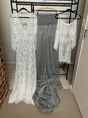 Maternity Photography Props Maxi Maternity Gown V-neck Lace. 3x Dresses