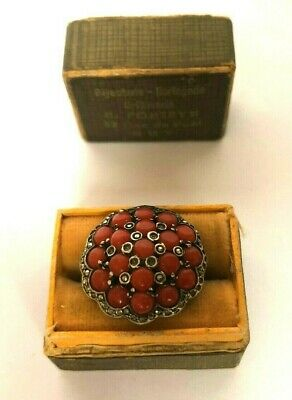 Vintage Rare Art Deco Silver Coral & Marcasite Art Nouveau Ladies  Ring with Box