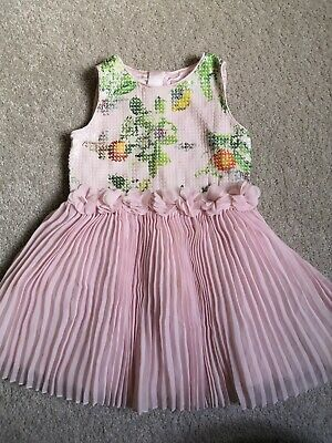 TED BAKER Baby Girls Party Dress With Sequins And Pleats Ruffles 18-24m