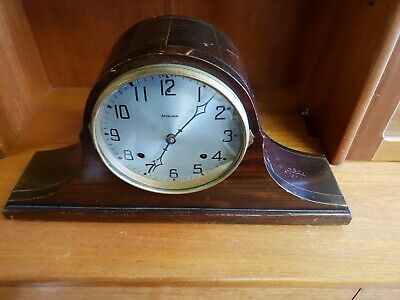 Vintage Mahogany Napoleon ANSONIA Mantle Clock made in USA NICE ITEM SEE PHOTOS