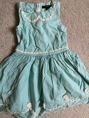 MARKS AND SPENCER M&S GIRLS  Aqua turquoise DRESS with daisies AGE 2-3 YEARS