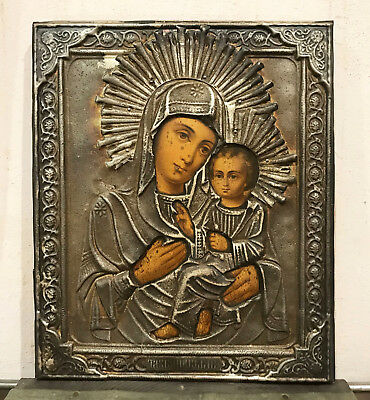 "19 c. ANTIQUE RUSSIAN ICON  ""VIRGIN of TIKHVIN""  silver pl. 27 x 22.5 cm"