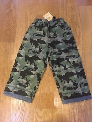 Frugi Combat Green Camoflage Trousers 2-3 Years Adjustable Waist Boys NEW
