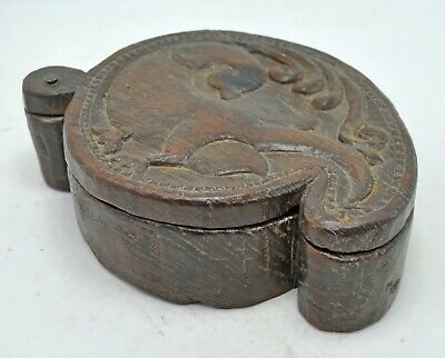 Antique Wooden Spice Container Box Original Old Kitchenware Hand Carved