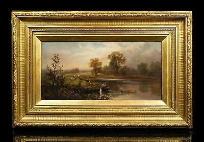 Lady in a Boat   19th Century Lake Landscape Oil Painting   Antique Gilt Frame