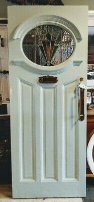 Original Stained Glass Art Deco Front Door With Letterbox Handles Lock Key #D55
