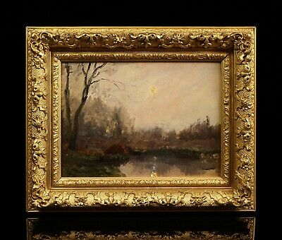 Barbizon French Impressionist Small Landscape Oil Painting | Antique Frame