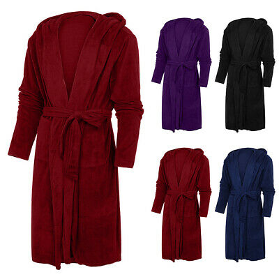 Dressing Gown Solid Long Sleeve Belt Women Robe Home Winter Warm Daily With Hood
