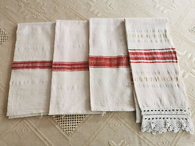 Old Antiques Primitive Hand Wooven Homespun Towels Cotton - Lot Ot 4