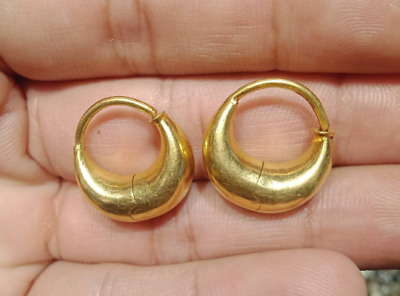 Antique genuine Solid 22k Massive Gold Egyptian Revival Royal Gold Hoop Earrings