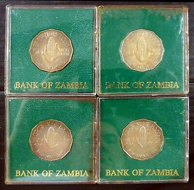 ZAMBIA 1961 Grow More Food 4 Coins in Cases CS125