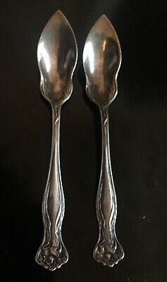 """Antique Rogers Bro A1 Floral Rose Silverplate 6"""" Grapefruit Spoon -2"""