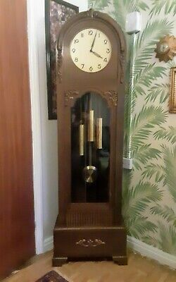 Vintage art deco German Westminster grandfather long longcase clock by Kienzle