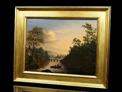 Sunset Italianate River Landscape   Signed 19th Century Antique Oil Painting